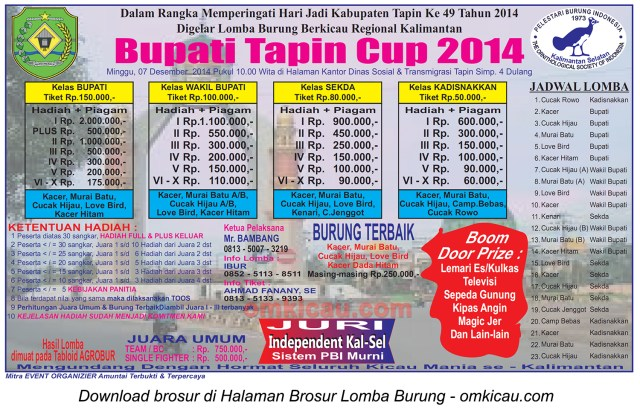 Brosur Lomba Burung Berkicau Bupati Tapin Cup, 7 Desember 2014