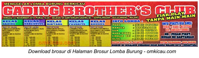 Brosur Lomba Burung Berkicau Gading Brother's Club, Malang, 23 November 2014