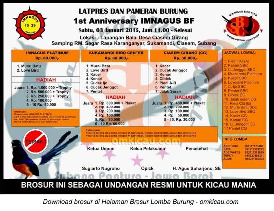Brosur Latpres 1st Anniversary Imnagus BF, Subang, 3 Januari 2015