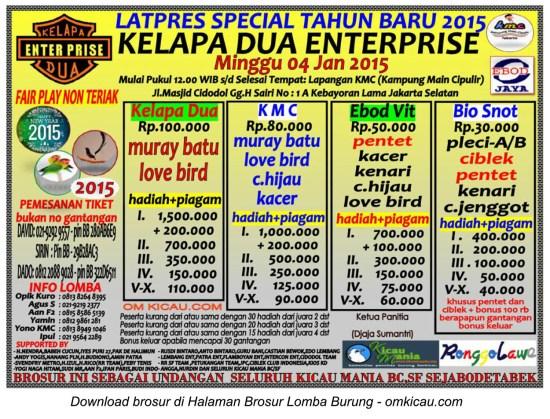 Brosur Latpres Spesial Tahun Baru Kelapa Dua Enterprise, Jaksel, 4 Januari 2015
