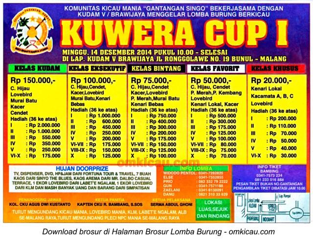Brosur Lomba Burung Berkicau Kuwera Cup I, Malang, 14 Desember 2014