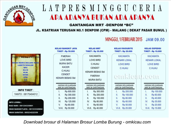 Brosur Latpres Minggu Ceria Gantangan MRT-Denpom BC, Malang, 1 Februari 2015