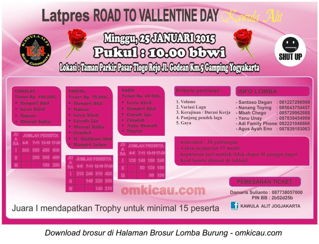 Brosur Latpres Road to Valentine Day - Kawula Alit, Jogja, 25 Januari 2015