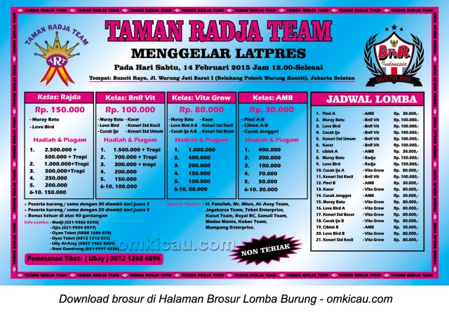 Brosur Latpres Taman Radja Team, Jakarta Selatan, 14 Februari 2015