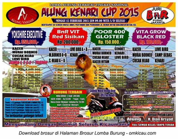 Brosur Lomba Burung Berkicau Alung Kenari Cup, Banjarmasin, 15 Februari 2015