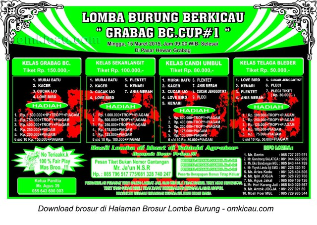 Brosur Lomba Burung Berkicau Grabag BC Cup, Magelang, 15 Maret 2015