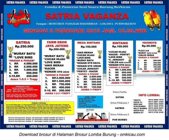 Brosur Lomba Burung Berkicau Satria-Vaganza, Purwokerto, 8 Februari 2015