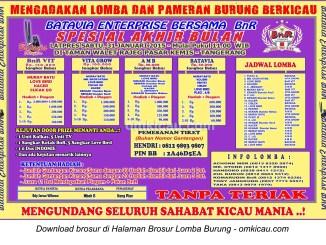 Brosur Lomba Burung Berkicau Spesial Akhir Bulan - Batavia Enterprise, Tangerang, 31 Januari 2015