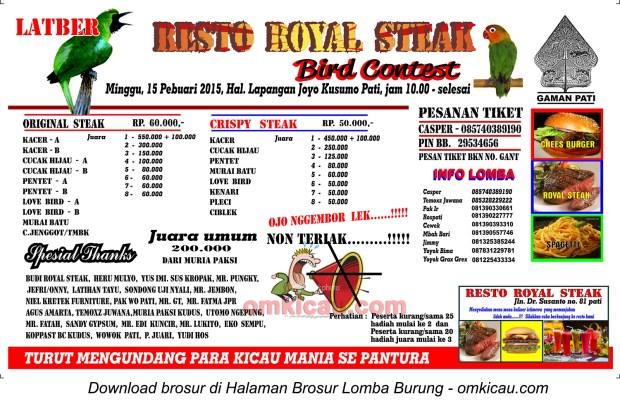 Brosur Lomba Resto Royal Steak Bird Contest, Pati, 15 Februari 2015