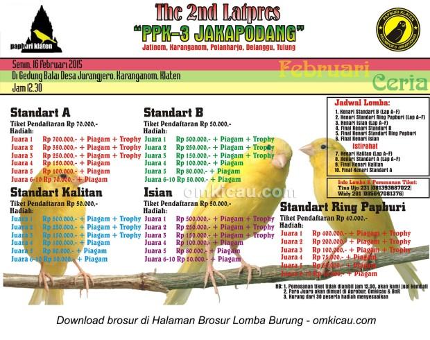 Brosur Latpres Februari Ceria PPK-3 Jakapodang, Klaten, 16 Februari 2015