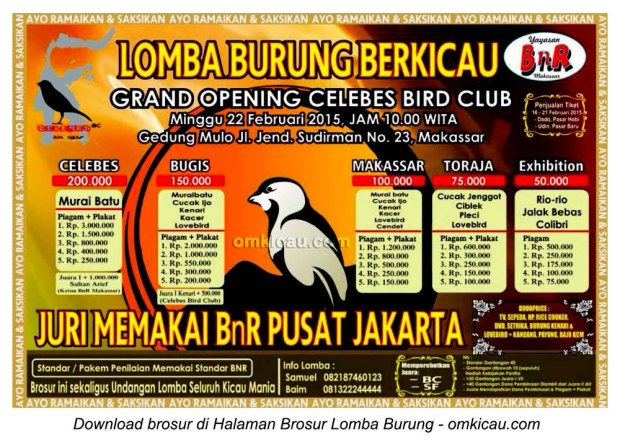 Brosur Lomba Burung Berkicau Grand Opening Celebes BC, Makassar, 22 Februari 2015