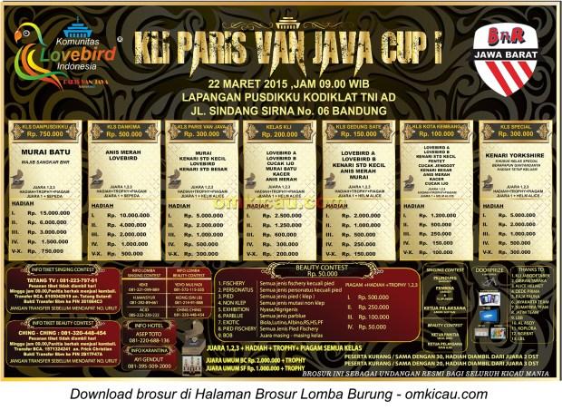 Brosur Lomba Burung Berkicau KLI Paris Van Java Cup I, Bandung, 22 Maret 2015