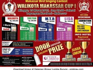 Brosur Lomba Burung Berkicau Wali Kota Makassar Cup I, 15 Maret 2015