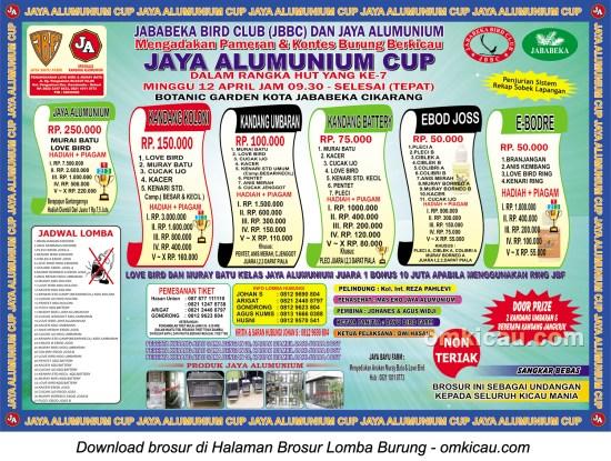 Brosur Lomba Burung Berkicau Jaya Alumunium Cup, Cikarang, 12 April 2015