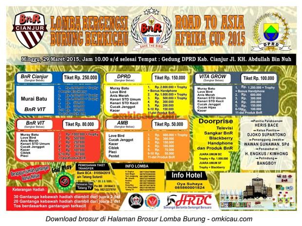 Brosur Lomba Burung Berkicau Road to Asia Afrika Cup, Cianjur, 29 Maret 2015
