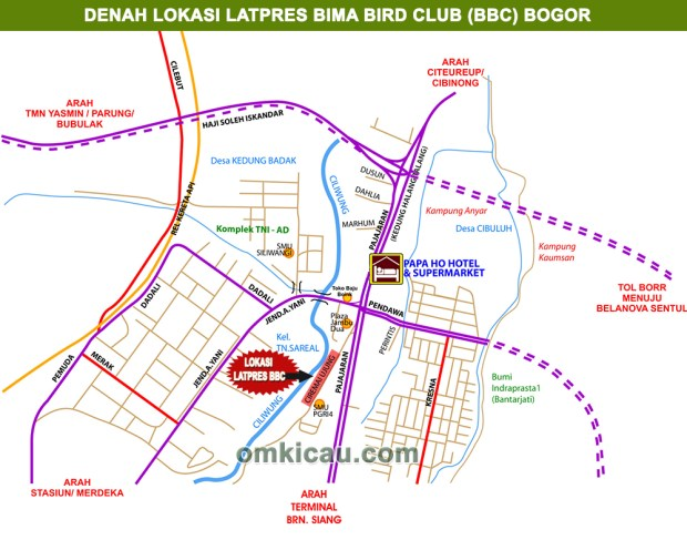 denah lokasi Bima Bird Club Bogor