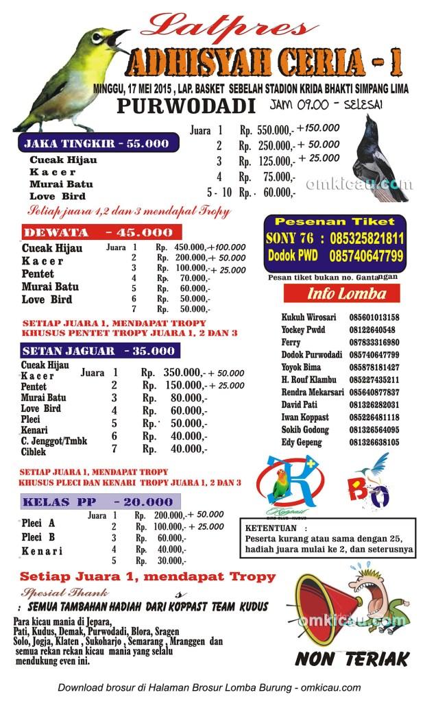 Brosur Latpres Burung Berkicau Adhisyah Ceria-1, Purwodadi, 17 Mei 2015