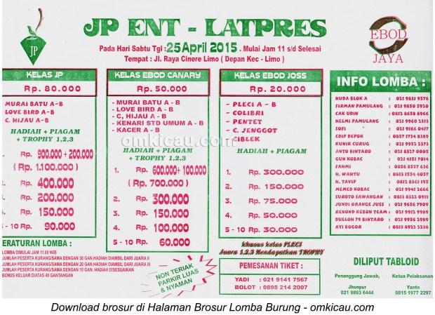 Brosur Latpres Burung Berkicau JP Enterprise, Depok, 25 April 2015