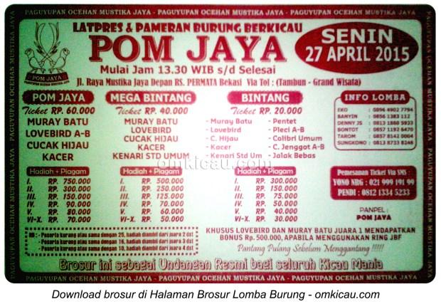 Brosur Latpres Burung Berkicau POM Jaya, Bekasi, 27 April 2015