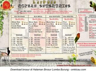 Brosur Latpres Burung Berkicau Royhan Enterprise, Jakarta Selatan, 5 Mei 2015