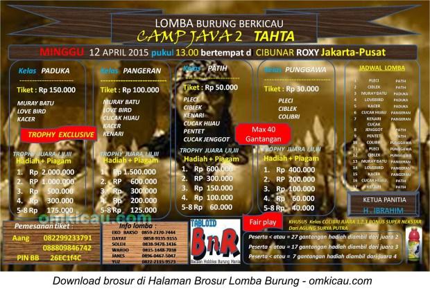 Brosur Lomba Burung Berkicau Camp Java 2 Tahta, Jakarta Pusat, 12 April 2015