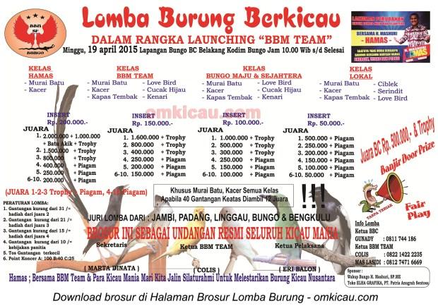 Brosur Lomba Burung Berkicau Launching BBM Team, Bungo, 19 April 2015
