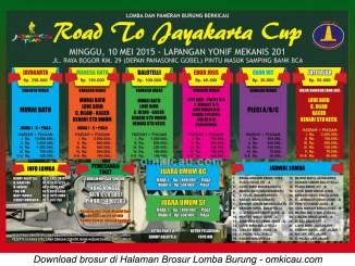 Brosur Lomba Burung Berkicau Road to Jayakarta Cup, Jakarta, 10 Mei 2015