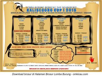 Brosur Lomba Burung Berkicau Kalisegoro Cup I, Gunungpati Semarang, 28 Juni 2015
