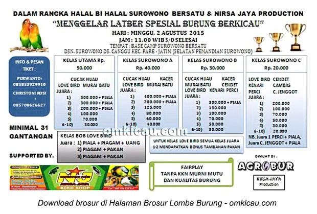 Brosur Latber Halal Bihalal Surowono Bersatu, Kediri, 2 Agustus 2015