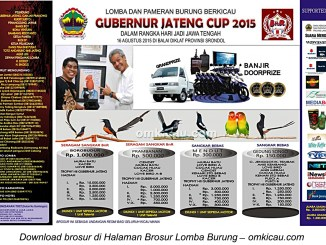 Brosur Lomba Burung Berkicau Gubernur Jateng Cup, Semarang, 16 Agustus 2015