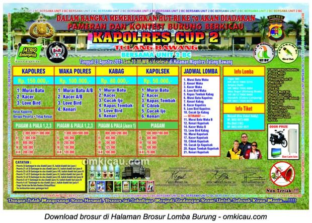 Brosur Lomba Burung Berkicau Kapolres Cup 2, Tulang Bawang, 23 Agustus 2015