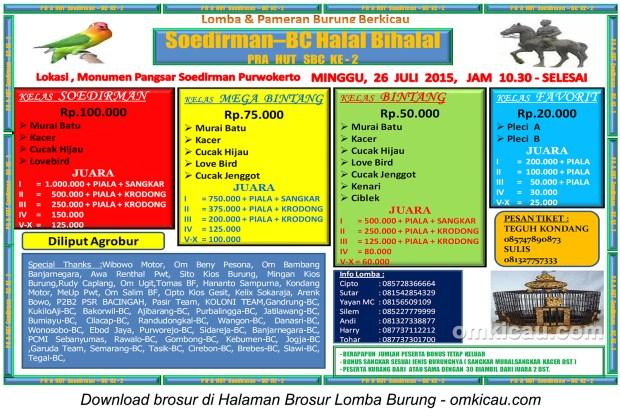 Brosur Lomba Burung Berkicau Soedirman BC Halal Bihalal, Purwokerto, 26 Juli 2015