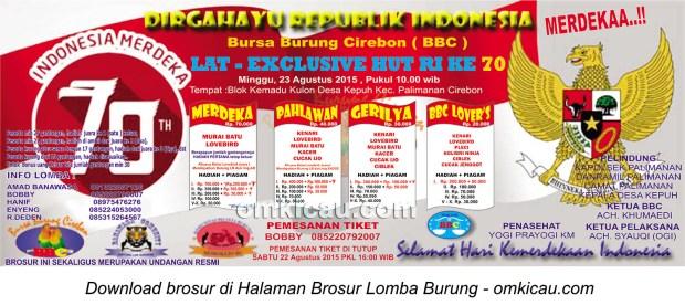 Brosur Latber Exclusive BBC - HUT Ke-70 RI, Cirebon, 23 Agustus 2015