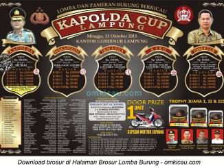 Brosur Lomba Burung Berkicau Kapolda Cup Lampung, 11 Oktober 2015