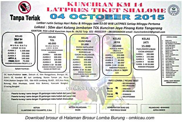 Brosur Latpres Burung Berkicau Kunciran KM 14, Tangerang, 4 Oktober 2015