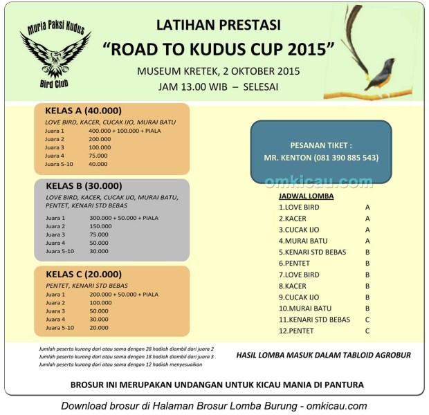 Brosur Latpres Burung Berkicau Road to Kudus Cup, 2 Oktober 2015