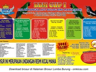 Brosur Lomba Burung Berkicau BBM Cup I, Purbalingga, 4 Oktober 2015