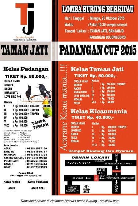 Brosur Lomba Burung Berkicau Padangan Cup, Bojonegoro, 25 Oktober 2015