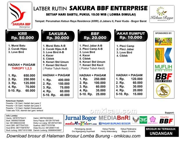 Brosur Latber Burung Berkicau Sakura BBF Enterprise, Bogor, 31 Oktober 2015