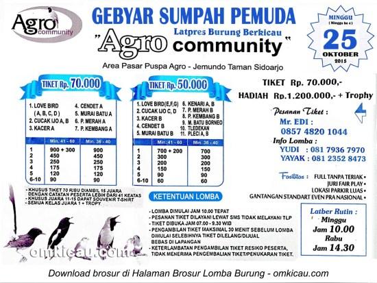 Brosur Latpres Agro Community Gebyar Sumpah Pemuda, Sidoarjo, 25 Oktober 2015