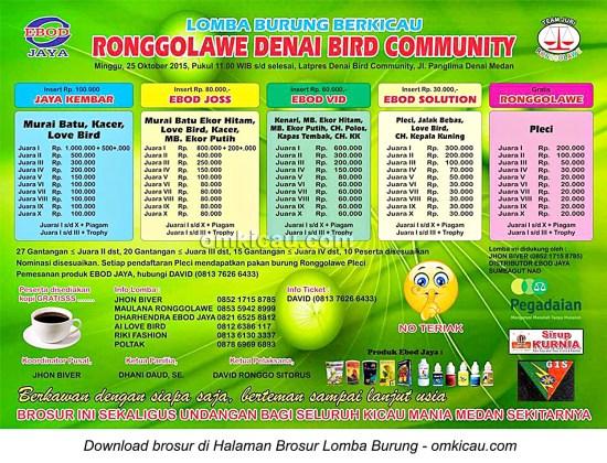 Brosur Lomba Burung Berkicau Ronggolawe Denai Bird Community, Medan, 25 Oktober 2015