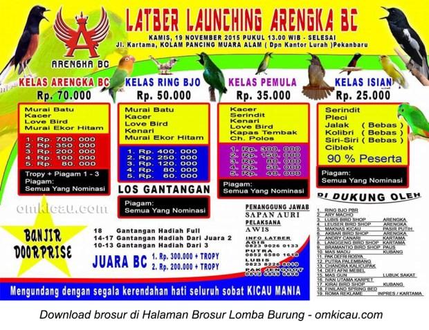 Brosur Latber Burung Berkicau Launching Arengka BC, Pekanbaru, 19 November 2015