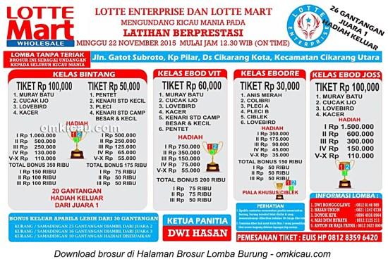 Brosur Latpres Burung Berkicau Lotte Enterprise, Cikarang, 22 November 2015