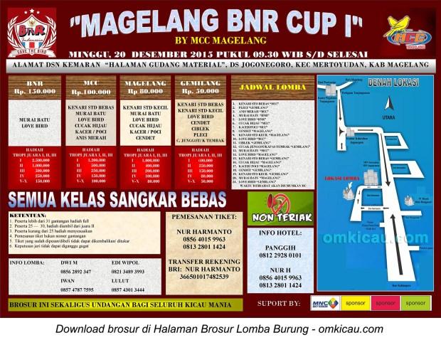 Brosur Lomba Burung Berkicau Magelang BnR Cup I, 20 Desember 2015