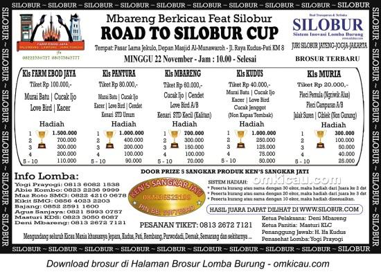 Brosur Lomba Burung Berkicau Road to Silobur Cup, Kudus, 22 November 2015