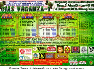 Brosur Lomba Burung Berkicau CIAS Vaganza-1, Sidoarjo, 21 Februari 2016