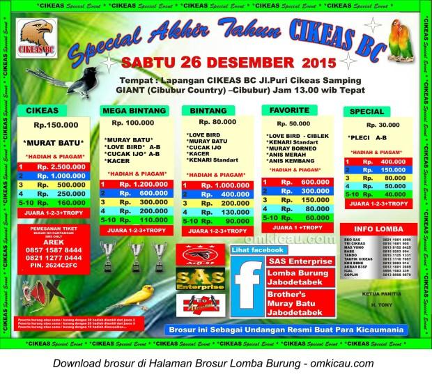 Brosur Lomba Burung Berkicau Special Akhir Tahun Cikeas BC, Cibubur, 26 Desember 2015
