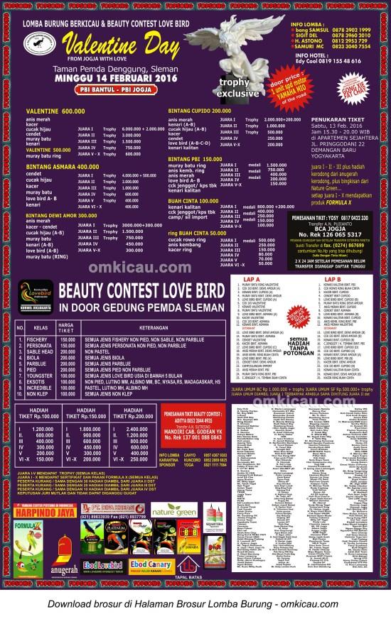 Brosur Lomba Burung Berkicau Valentine Day PBI, Jogja, 14 Februari 2016