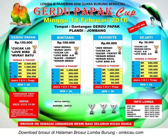 Brosur Lomba Burung Berkicau Gerdu Papak Cup, Jombang, 14 Februari 2016