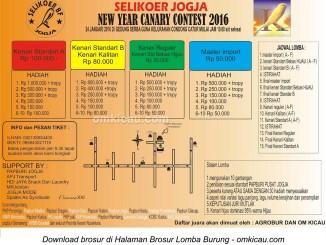 Brosur New Year Canary Contest - Selikoer BF Jogja, 24 Januari 2016